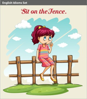 36779409 - a poster showing an idiom about a girl sitting on the fence