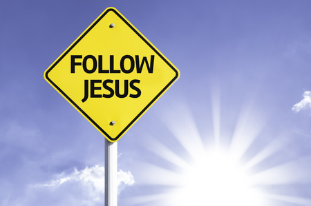 61668104 - follow jesus sign with sunny background