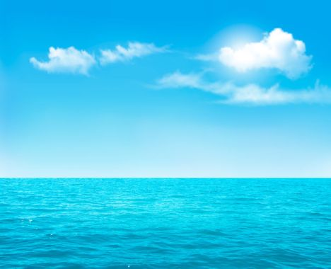 39536344 - nature background - blue ocean and blue cloudy sky. vector.