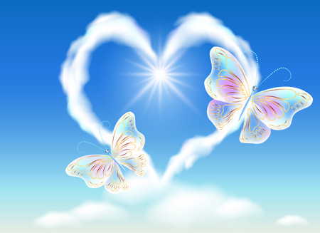 52480044 - cloud heart in the sky and transparent butterflies